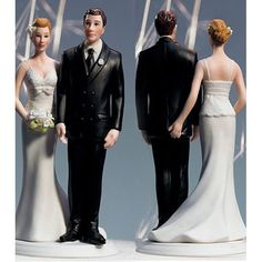 """These comical wedding cake toppers are the perfect way to add a splash of fun and a touch of personality to your wedding day. Express yourselves with bolder designs that say """"the bride's in charge"""" or a more subtle """"kissing couple."""""""