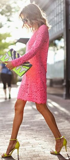 Little Pink Lace Dress with High Heels
