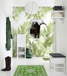 Jungle Leaves Wall Panel A large palm leaf design in shades of green. The design is repeatable. If you wish to hang it on a larger wall just order as many panels as you need.