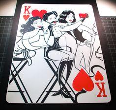 2 feet tall paper-cut playing card. The Fashion & Flair deck by Emmanuel Jose. www.emmanueljose.com