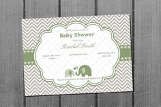 Elephant Baby Shower Invitation Green Card by NorthernDesigns, $9.00