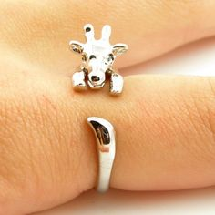 Giraffe Animal Wrap Ring - Shiny Silver on ArtFire