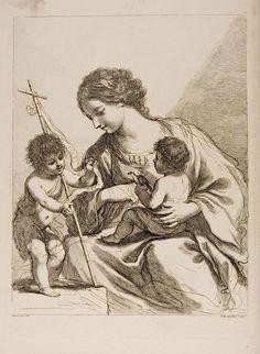 ❤ -  Madonna and Child and Saint John. Francesco Bartolozzi. After Guercino (Giovanni Francesco Barbieri).