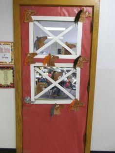Barn door for classroom
