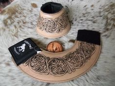 Pair Floral Tooled Leather No Turn Bell Boots For Rodeo & Trails New Horse Tack #TurnTwo