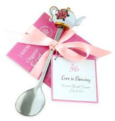 Floral Chic Teapot Silver Spoon with Tea Favor At: http://www.fresnoweddingblog.com/2013/08/tea-rific-couple-tea-bag-favor.html