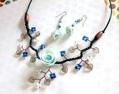 Parure de bijoux floral bleu porcelaine froide