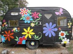 vintage trailers, old campers, painted flowers, vintag campersglamp, vintage caravans, happy campers, vintage clothing, camper remodel, vintage campers