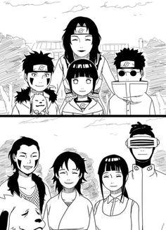 Team Kurenai then and now: Kurenai Yuhi leader & Sensei, Kiba Inuzuka, & Akamaru, Hinata Hyuga, & Shino Aburame Hinata Hyuga, Naruhina, Naruto Uzumaki, Anime Naruto, Sarada Uchiha Manga, Naruto Gaiden, Naruto Comic, Shikamaru, Naruto Art