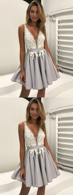 Homecoming dresses, grey homecoming dresses, chic a-line fashion dresses.