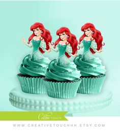 Ariel Cupcake Toppers, The Little Mermaid, Princess Ariel, Disney Princess, Ariel Birthday, Cinderella Party, Ariel Cake Topper, Decoration