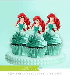 Ariel Cupcake Toppers poco sirena princesa por CreativeTouchhh