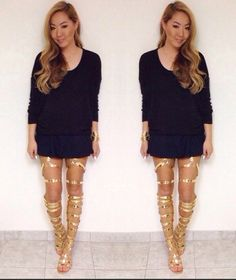 Flat Over The Knee Thigh High Boots,Summer lace up Gladiator Sandal Boots,Night Club Sexy gold Leather Boots