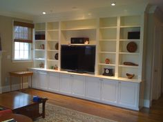 built ins with lots of shelves