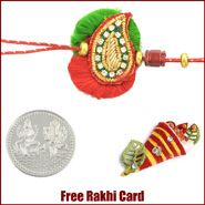Keri Design Zardosi Rakhi to Canada  with Free Silver Coin