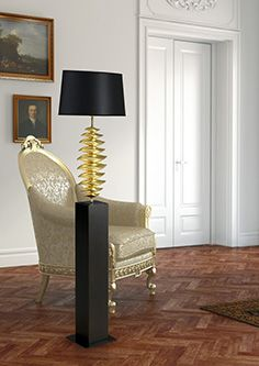 MOOV: Floor lamp designed by Jean-Pierre Rey. Ceramic pieces on the top of a wood column. H 157 cm. 2 colors/ finishing are available: handmade golden leaf or handmade silver leaf. In-house manufacturer. Made in Portugal.