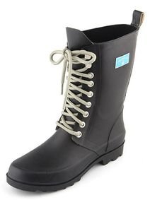 Loving this Black Lace-Up Rain Boot - Women on #zulily! #zulilyfinds