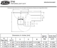 Zurn Light-Duty Top Drain w/ Integral Double Wall Trap, Si – MasterBuilder Mercantile Inc. Technical Documentation, Floor Drains, Pipe Sizes, Polished Nickel, Cast Iron, Places, Wall, Top, Walls