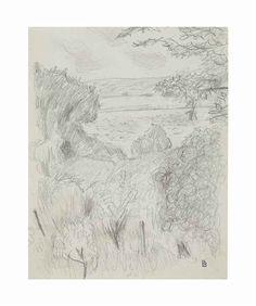 Pierre Bonnard Paysage à Vernon, circa 1920 pencil and wax crayon on paper 12 ¼ x 9 ¼ in. (31.1 x 23.5 cm.)