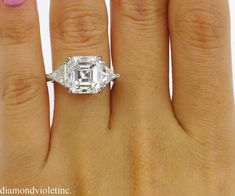 GIA 5.35ct Estate Vintage Asscher Diamond 3 Stone Engagement   Etsy Oval Shaped Engagement Rings, Engagement Ring Shapes, Three Stone Engagement Rings, Wedding Engagement, Wedding Rings, Asscher Cut Diamond, Diamond Cuts, Copper And Marble, Platinum Ring