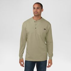 Dickies Men's Big & Tall Cotton Heavyweight Long Sleeve Pocket Henley Shirt-