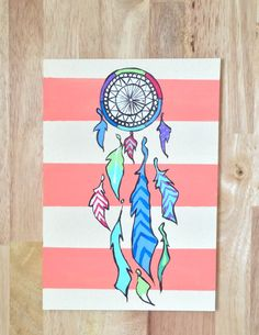 Check out my talented cousin | Orange Dream Catcher Painting by UrbanDreamCatchers on Etsy, $15.00