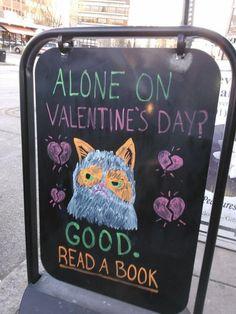 "Grumpy Cat: ""Alone on Valentine's Day? GOOD. Read a book."""