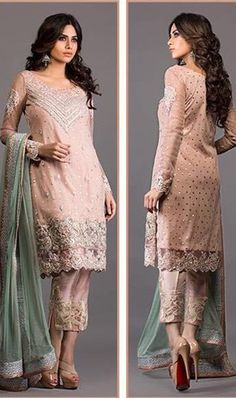 FULL EMBROIDERY Designer 3PC NET Suit With CHIFFON Dupatta