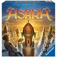 Asara is a German game distributed by Ravensburger. What you notice first about Asara is the beauty of the game board itself and the finely designed game pieces, all of which is typical of Euro-style games. But games aren't just art for hanging on a wall, and game play matters, too.