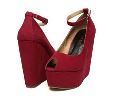 Red Peep Toe Wedge Platforms with Soft  Suede Finished