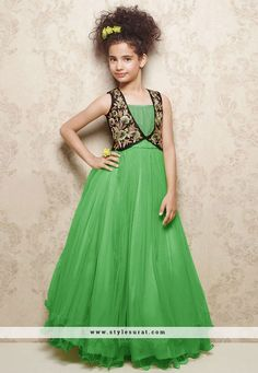 Gradiant Green Net Girls Readymade Party Wear Gown     #Gown, #Net, #Green, #Party