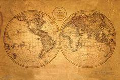 Mapa-múndi Antigo Pôsters na AllPosters.com.br