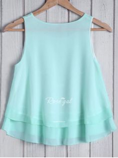 Fashionable Round Collar Solid Color Loose-Fitting Women's Tank Top Shirt Blouses, Shirts, Chiffon Shirt, Round Collar, Tank Tops, Kids, Color, Clothes, Shopping