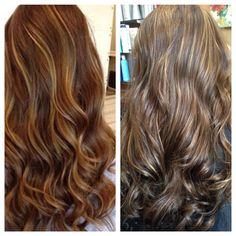 """Created by Melanie Sewell @ salon MelRose. Left picture was a """"Pinspiration"""" -Right picture is my client. She came in with Dark Brown hair and I gave her subtle Carmel and Blonde Highlights. https:/www.vagaro.com/salonmelrose"""