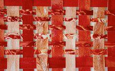 Red Paper Weaving Original Geometric Water Media by lauraprill, $15.00