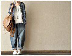 Blue Cowboy Loose Leisure Cotton Linen Pants by clothingshow