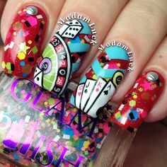 My Las Vegas inspired nail art . Polishes used in this design are. Pretty Nail Colors, Lip Colors, Pretty Nails, Gorgeous Nails, Acrylic Nail Designs, Nail Art Designs, Acrylic Nails, Acrylics, Las Vegas Nails