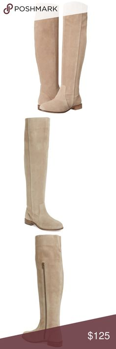 Seychelles Herd over the knee boots suede thigh 8 New Seychelles Herd boots. These are over the knee, not quite up to the thigh and could be folded down for a different look. They are a beige/gray suede. Color is more accurate in the stock photos than in my photos due to my lighting. These are brand new, never worn, but may show some very light imperfections due to the delicate nature of the material-nothing serious or noticeable. There is a small dot near toes that can't be seen when worn…