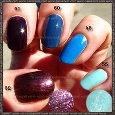 Alessandro nail polish: 62, 61, 60, 45, 55 swatches