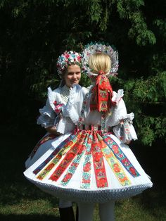 Europe | Portrait of two young women wearing tradtinoal clothes, Buják, Hungary