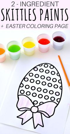 Looking for a fun Easter kids activity?! How about making 2-ingredient watercolor paint with Skittles candies?! See how to make skittles paints and download a free Easter egg coloring page printable. #Easter #EasterCrafts #KidsCrafts #CraftsForKids #WatercolorPainting #EasterEggs #KidsCraft #DIYCrafts