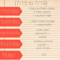 Love love love the weekly menus!  Wish I could make myself eat this healthy all the time :)