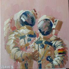 "gay astronauts on a romantic honeymoon space adventure (oil on canvas 10"" x 10"")"