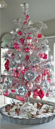 silver tree with bubble gum pink and hot pink ornaments