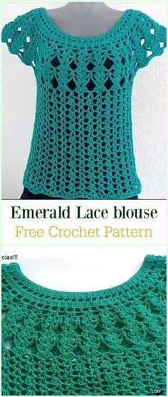 Crochet Emerald Lace Blouse Free Pattern Video -Crochet Summer Top Free Patterns