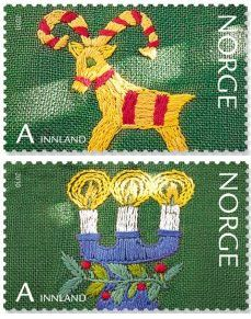 Embroidery On Norwegian Christmas Stamps