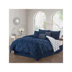 Avondale Ella Pinch Pleat 5-pc. Reversible Duvet Cover Set, Blue (Navy)