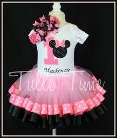 SALE Pink 1st First Minnie birthday onesie ribbon by Tulletime
