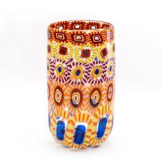 vaso multicolor di murrine esplose realizzato a Murano con la tecnica della soffiatura. Murano glass vase, handmade and beautiful interior design.