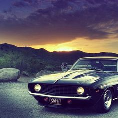 Classic Camaro SS - beautiful sunset